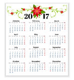 Calendar for 2017 with flowers of poinsettia vector.  Stock Photography