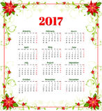 Calendar for 2017 with flowers of poinsettia vector.  Stock Photo