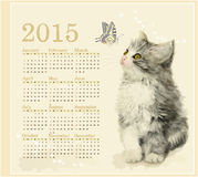 Calendar 2015. With fluffy kitten and butterfly Royalty Free Stock Image