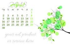 Calendar a folha para 2018 abril com ramo de árvore ilustração royalty free
