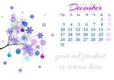 Calendar a folha para 2018 dezembro com ramo de árvore ilustração do vetor