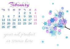 Calendar a folha para 2018 fevereiro com ramo de árvore Imagens de Stock