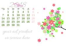 Calendar a folha para 2018 maio com ramo de árvore Imagem de Stock Royalty Free