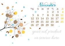 Calendar a folha para 2018 novembro com ramo de árvore Fotografia de Stock Royalty Free