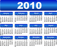 Calendar For 2010 Royalty Free Stock Photo
