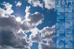 Calendar For 2011 Year. Royalty Free Stock Photography