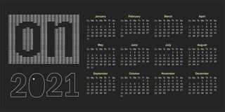 Free Calendar For 2021 Royalty Free Stock Photography - 173899917