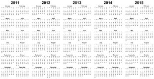 Calendar For Year 2011, 2012, 2013, 2014, 2015 Royalty Free Stock Photo