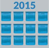 Calendar for 2015 in the form of  a glossy textured labels or bookmarks. Stock Photography