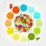 Calendar 2014 with four season bouquet for your Royalty Free Stock Photography
