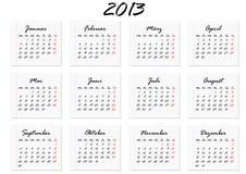 Calendar för året 2013 i tysk Arkivfoton