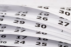 Calendar. Fragment perspective shot with partial blurred areas Stock Images