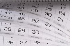 Calendar. Fragment perspective shot with partial blurred areas Stock Image