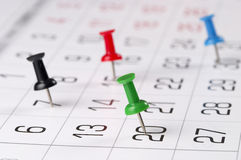 Calendar. Fragment perspective shot with partial blurred areas Royalty Free Stock Photos