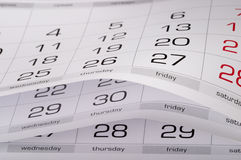 Calendar. Fragment perspective shot with partial blurred areas Royalty Free Stock Photo