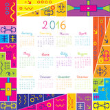 2016 calendar with frame for kids. 2016 calendar with colorful frame for kids Stock Images