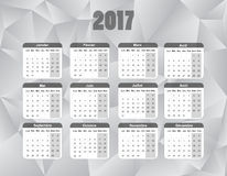 Calendar for 2017 in french language, sunday to saturday. Vector file included. Royalty Free Stock Photography