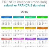 2015 Calendar French Language Version Mon - Sun. Colorful Monday to Sunday 2015 Calendar French Language Version Illustration Stock Images
