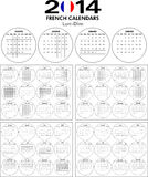 Calendar 2014 French. Stock Photo