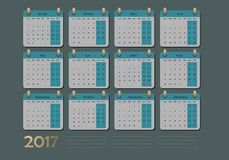 Calendar for 2017 in french, vector illustration template. Royalty Free Stock Photos