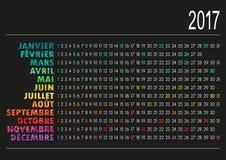 Calendar 2017. French calendar for year 2017, vector illustration Stock Image