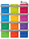 Calendar 2017. French calendar for year 2017, week starts on Monday Stock Images