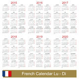 Calendar 2015-2020. French calendar for years 2015-2020, week starts on Monday stock illustration