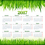 Calendar for 2017 with fresh green grass background vector Royalty Free Stock Image