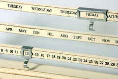 Calendar with Friday the 13th set on it Royalty Free Stock Image