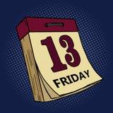 Calendar with friday thirteen pop art vector Stock Image
