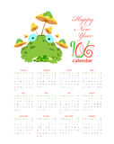 Calendar with frogs and mushrooms 2016.  stock illustration