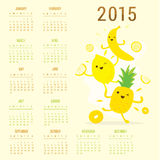 Calendar 2015 Fruit Cute Cartoon Banana Pineapple Lemon Vector Stock Image