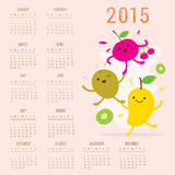 Calendar 2015 Fruit Cute Cartoon Mango Cherry Kiwi Vector Royalty Free Stock Photo