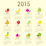 Calendar 2015 Fruit Cute Cartoon Vector Royalty Free Stock Photography