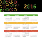 Calendar for 2016 with fruit. Stock Images