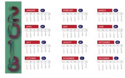 Calendar 2018 With Full 12 Months Stock Photo