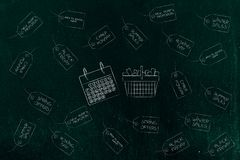 Calendar and full shopping basket surrounded by reduction tags Royalty Free Stock Image