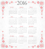 Calendar of 2016: full year on grey artistic background Royalty Free Stock Photography