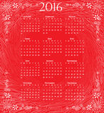 Calendar of 2016: full year on red artistic background. Calendar in traditional style on sketch artistic background stock illustration