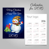 Calendar 2016 with fun snowman with bouquet. Calendar 2016 with cute snowman with bouquet Stock Photography