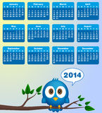 2014 calendar. With funny blue bird Stock Images