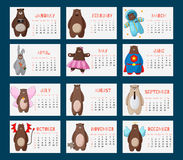 Calendar 2016 with funny cartoon hipster bears. Week starts on Sunday. Colorful theme for your design, prints and illustrations Royalty Free Stock Photography