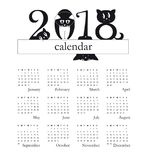 2018 calendar with funny cats as digits - week starts on Sunday. 2018 calendar with funny cats as a digits - week starts on Sunday - original funny illustration Stock Images