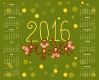 Calendar for 2016 funny monkey on the green background Royalty Free Stock Image