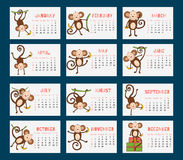 Calendar for 2016 with funny monkeys. Vector decor for New Years design in flat style. Monkey, symbol of year 2016. Calendar for 2016 with a symbol of the Stock Images