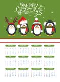 Calendar 2015 with funny penguins. Merry Christmas calendar with funny penguins Vector Illustration