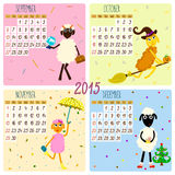 2015 calendar with funny sheep. Autumn. Hand-drowing vector illustration Royalty Free Stock Image