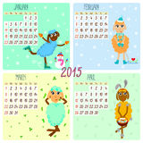 2015 calendar with funny sheep. Winter, spring. Hand-drowing vector illustration Stock Photos