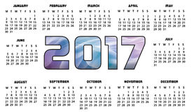 Calendar 2017 Futuristic Abstract. Calendar for 2017 year - Calendar 2017 Design Print Royalty Free Stock Image