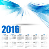 Calendar for 2016 on futuristic wavy background Stock Photography